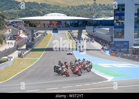 Moto GP race start Jerez de la Frontera, Spain 2019. Fourth stop of the competition. - Stock Image
