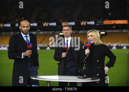 Sky Sports presenter Kelly Cates with Matt Murray and Darren Fletcher - Stock Image