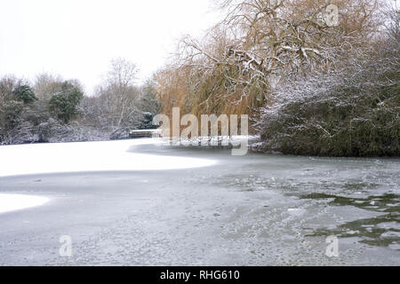 St. James lake, Brackley.Winter season. - Stock Image