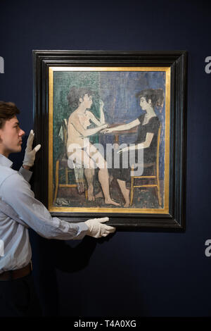 London, UK. 15th Apr, 2019. The photo call for Bonhams Greek Sale took place at Bonhams New Bond Street Saleroom. Leading the sale is Composition, by Yiannis Moralis (1916-2009). It is estimated at £70,000-100,000. The sale takes place on the 17th April at 2pm.Credit: Keith Larby/Alamy Live News - Stock Image