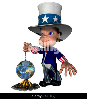 National figure Uncle Sam blow fires over the globe as symbol for the USA as a causer of the climatic heating up - Stock Image