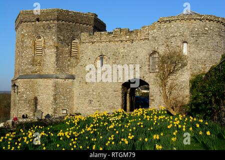 Tower Gate House and Bell Tower 14th century building St Davids Cathedral Pembrokeshire Wales Cymru UK - Stock Image