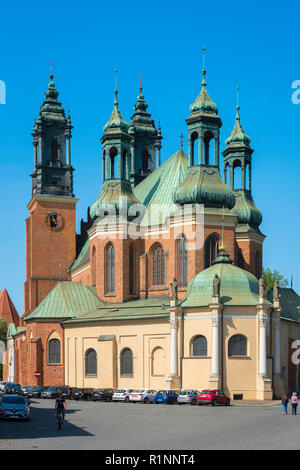 Cathedral Poznan, view of the city Cathedral with its distinctive five towers, Ostrow Tumski, Poznan, Poland. - Stock Image