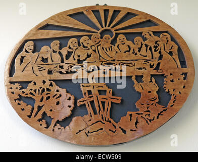 Wood carved last supper scene from St Marys Ardley, Oxfordshire, England, United Kingdom - Stock Image