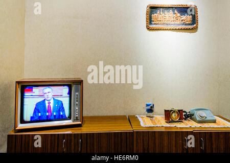 Furniture in a typical, old fashioned Polish living room from the 1970s/1980s Soviet Communist era - Stock Image