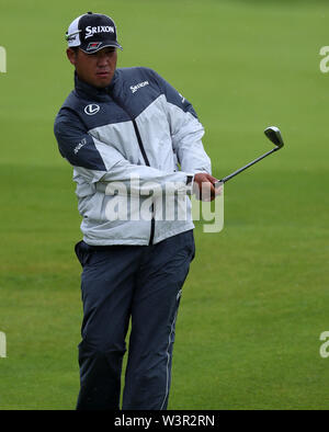 Portrush, County Antrim, Northern Ireland. 17th July 2019. The 148th Open Golf Championship, Royal Portrush Golf Club, Practice day ; Hideki Matsuyama (JAP) plays a pitch shot to the 13th green Credit: Action Plus Sports Images/Alamy Live News - Stock Image