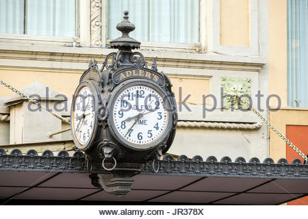 United States, Louisiana, New Orleans, French Quarter. Clock in front of Adler's Jewelry Store. - Stock Image