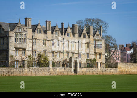 Merton College, Oxford from Christ Church Meadow - Stock Image