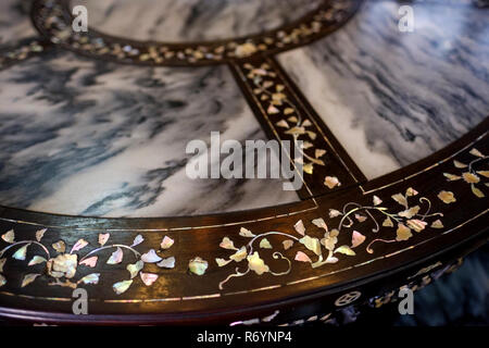 Close-up of mother-of-pearl inlaid table at main hall, Tjong A Fie Mansion, Medan, North Sumatra, Sumatra, Indonesia. - Stock Image