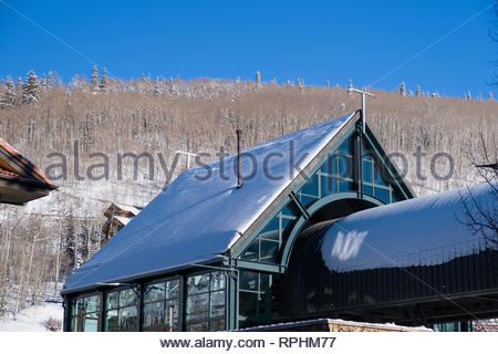 Free Intercept Gondola building, Mountain Village, San Miguel County, Colorado, USA - Stock Image