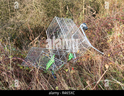 Shopping trolley abandoned in a public park, north east England, UK - Stock Image