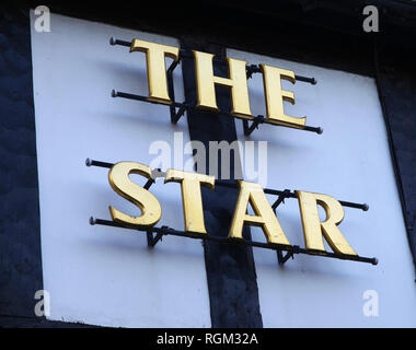A sign on a public house or pub or Inn saying 'The Star' - Stock Image