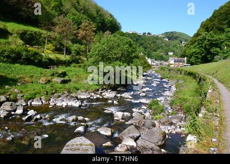 Riverside path between Watersmeet and Lynmouth in Devon, UK - Stock Image