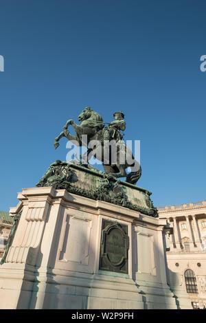 Equestrian statue of Kaiser Joseph II, outside the Austrian National Library (Österreichische Nationalbibliothek), Josefsplatz, Vienna, Austria - Stock Image
