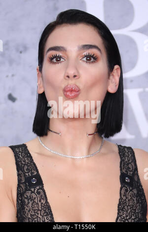 The Brit Awards 2019 held at the O2 - Arrivals  Featuring: Dua Lipa Where: London, United Kingdom When: 20 Feb 2019 Credit: Lia Toby/WENN.com - Stock Image