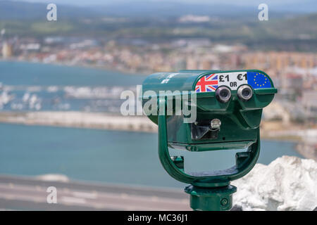 GIBRALTAR, SPAIN: 12-MAY 2017: Telescope at a viewing spot on the Rock of Gibraltar in May 2017. - Stock Image