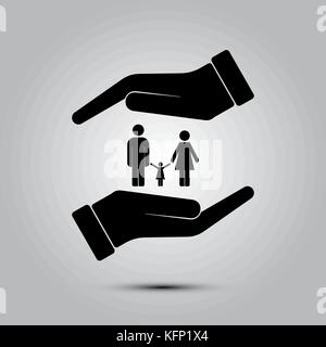 Family life insurance sign icon, vector illustration. Flat design style - Stock Image