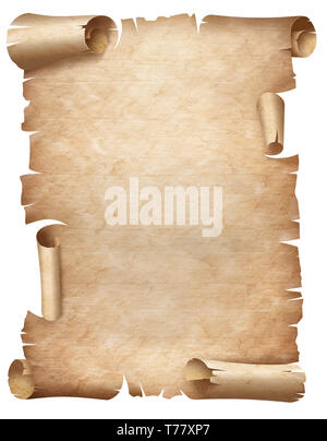 Vertical ancient worn parchment or old document isolated - Stock Image