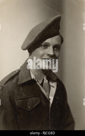 A jolly young British military cadet - Gibraltar - according to the note on the reverse of the card his name was 'Jock' Reid. - Stock Image