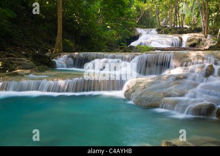 Thailand, Kanchanaburi, Kanchanaburi. Erawan falls in the Erawan National Park. - Stock Image