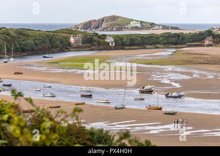 Burgh Island viewed from estuary near Bantham, South Hams, Devon. - Stock Image