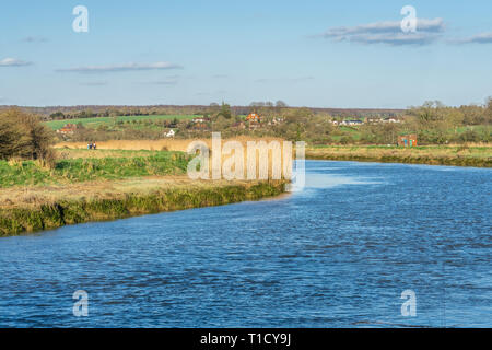River Arun near Arundel in the English county of West Sussex, England, UK - Stock Image