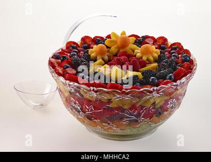 Fruit Salad Bowl With An Assortment of Fruit - Stock Image