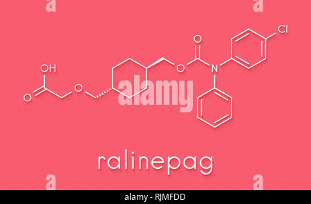 Ralinepag pulmonary arterial hypertension drug molecule. Skeletal formula. - Stock Image