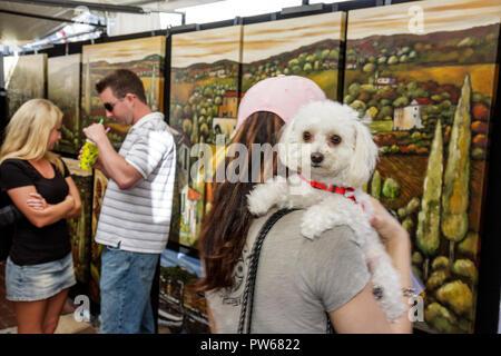 Fort Lauderdale Ft. Florida Las Olas Boulevard Las Olas Art Fair festival painting landscape man woman women man couple dog pood - Stock Image