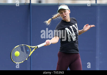 Eastbourne, UK. 24 June 2019 Caroline Wozniacki of Denmark on the practice court on Day three of the Nature Valley International at Devonshire Park. Credit: James Boardman / Alamy Live News - Stock Image