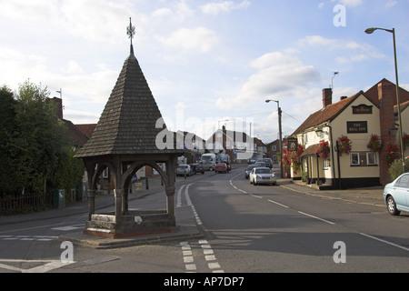 The Wishing Well Bell Inn and High Street Bovingdon Hertfordshire - Stock Image