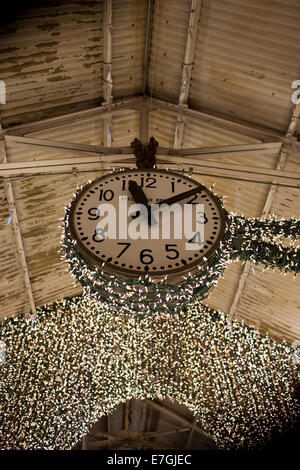 The old factory clock at Chelsea market, New York - Stock Image