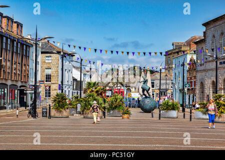 12 June 2018: Truro, Cornwall UK - Lemon Quay, or Back Quay. - Stock Image