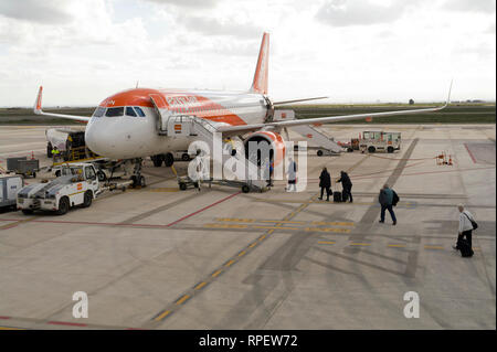 Easyjet aircraft on the ground at Corvera Airport, Murcia, Spain - Stock Image