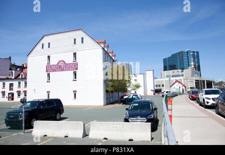 June 23, 2018 - St. Johns, Newfoundland: Downtown St. Johns, with the Murray Premises Hotel and Scotiabank building - Stock Image
