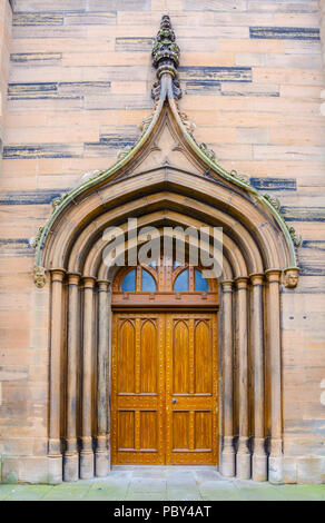 The door at the main entrance to Old and St Andrews church in Montrose, Scotland. - Stock Image