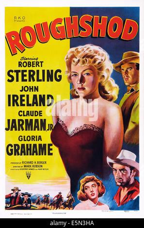 ROUGHSHOD, US poster art, clockwise from top left: Gloria Grahame, Robert Sterling, John Ireland, 1949. - Stock Image