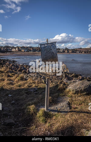 The Stonehaven Viking Ship Sculpture along the beach front - Stock Image
