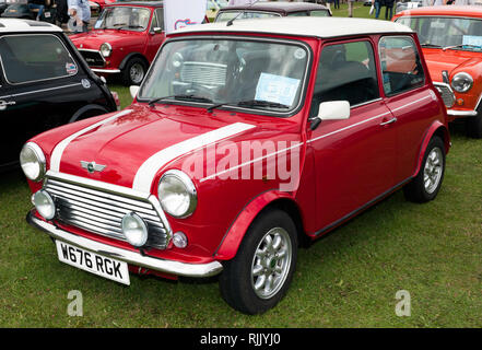 A 2000, Rover-produced 1275cc Mk VII, Mini ,on display in the car club zone at the 2018 Silverstone Classic. - Stock Image