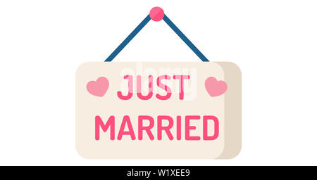 wedding just married love heart pink romantic lettering illustration board - Stock Image