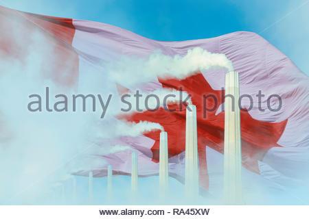 Global warming Climate change  Canadian flag smoke greenhouse gas chimney. - Stock Image