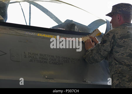 U.S. Air Force Senior Airman Nicholas Snyder, 20th Aircraft Maintenance Squadron tactical aircraft maintainer reveals the name of Col. Daniel Lasica, incoming 20th Fighter Wing commander, on an F-16CM Fighting Falcon at Shaw Air Force Base, S.C., Aug. 19, 2016. As commander of the 20th FW, Lasica will lead the wing in its mission of maintaining readiness to deploy and employ combat forces in support of operational wartime requirements worldwide. (U.S. Air Force photo by Airman 1st Class Destinee Sweeney) - Stock Image
