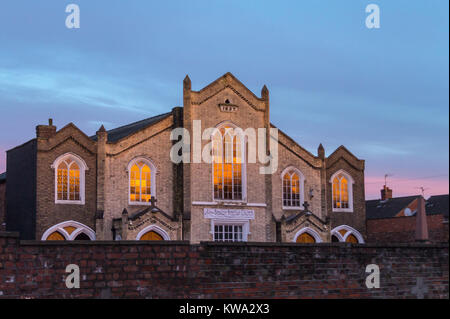 Boston Baptist Church, 1837, High Street, Boston, Lincolnshire, England at sunset - Stock Image