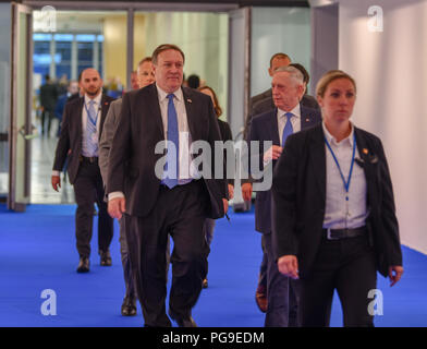 U.S. Secretary of State Michael R. Pompeo participates in a bilateral meeting with Azerbaijan President Ilham Aliyev in Brussels, Belgium on July 12, 2018. - Stock Image
