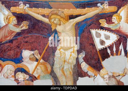 COMO, ITALY - MAY 9, 2015: The old fresco of Crucifiction in church Basilica di San Abbondio by unknown artist 'Maestro di Sant'Abbondio' (1315 - 1324 - Stock Image