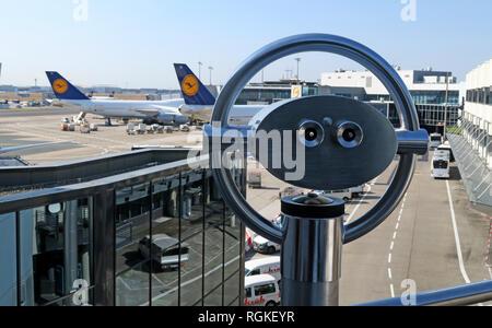 Plane spotting observation deck, at Frankfurt Airport, Frankfurt, 60547 Frankfurt, Germany - Stock Image