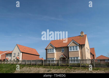 Houses built elevated above the fringes of Seaton Wetlands, Devon, UK. - Stock Image
