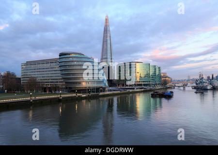 City Hall the Shard sunrise London England - Stock Image
