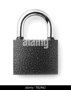 Top view of closed padlock isolated on white - Stock Image