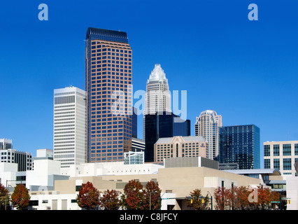 Charlotte, NC, North Carolina, skyline. From the left: Two Wells Fargo, One Wells Fargo, Bank of America, and the - Stock Image
